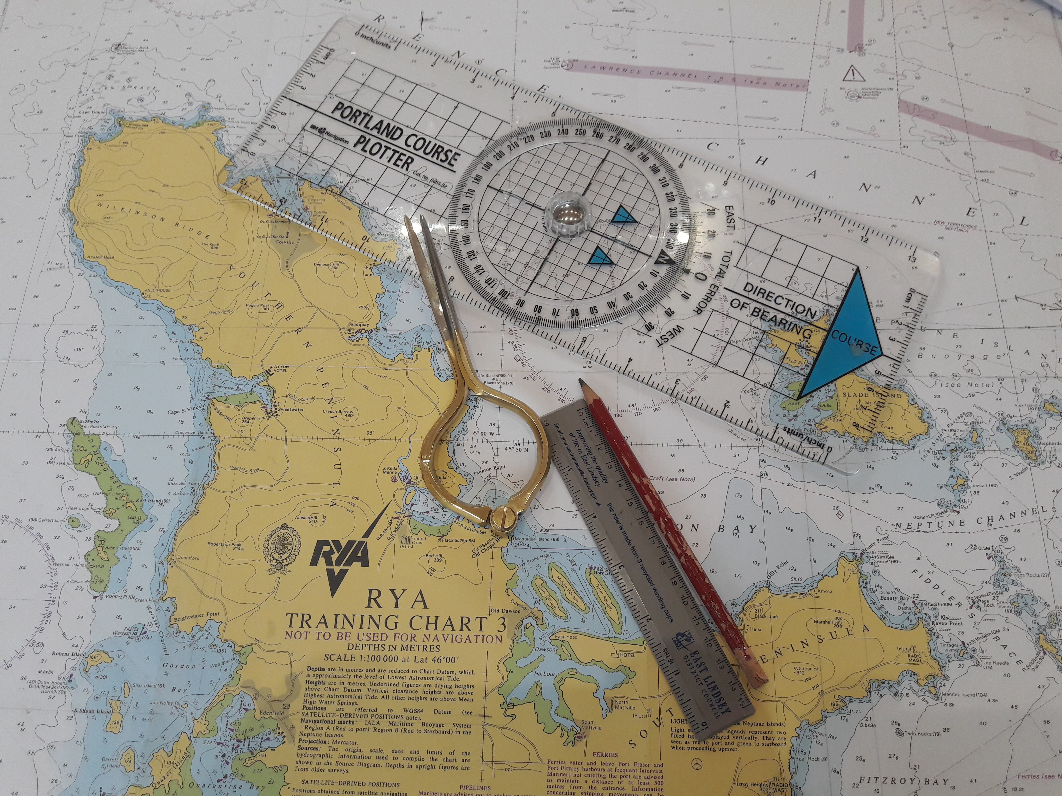 Navigation charts for Day Skipper and Yachtmaster Courses
