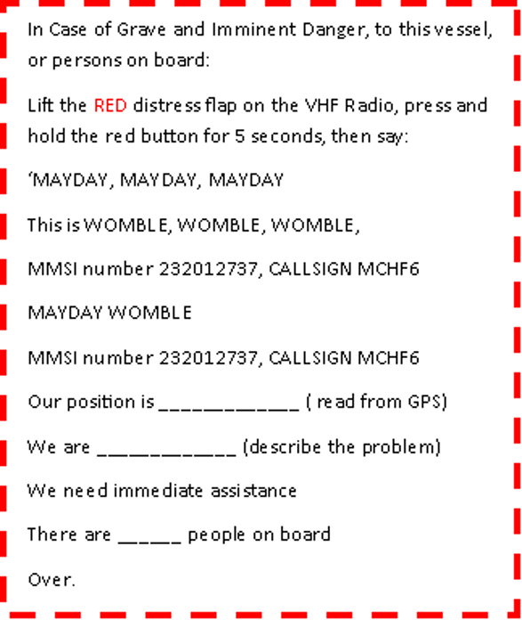 VHF Radio Refresher - Mayday Card